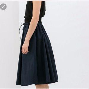 Zara Lace Up Navy Full Midi Skirt sz SM